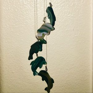 Other - A blue turquoise Agate glass dolphin wind chime.